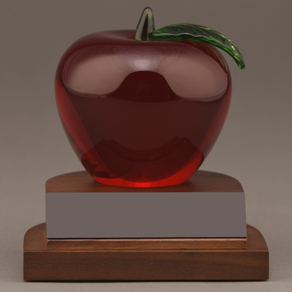 Red Crystal Apple Desk Award without Engraving for a Employee Recognition Gift
