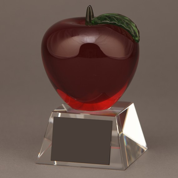 Red Glass Apple Trophy without Engraving - Teacher Appreciation Gifts