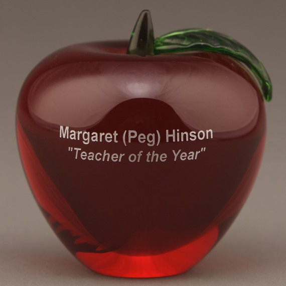 Red Glass Apple Paperweight for Teacher Appreciation Gift