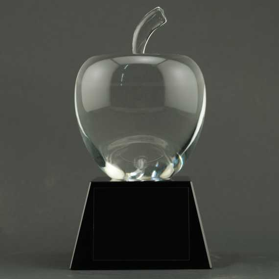 Smooth Crystal Apple on Black Crystal Base