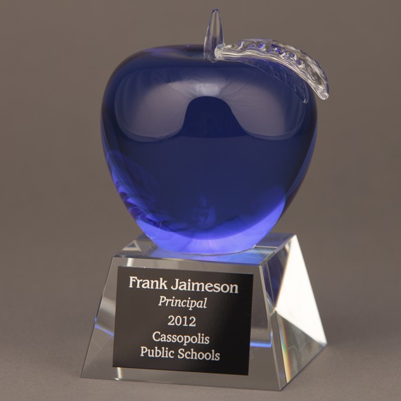 Blue Crystal Apple Trophy for a Principal Retirement Gift Idea