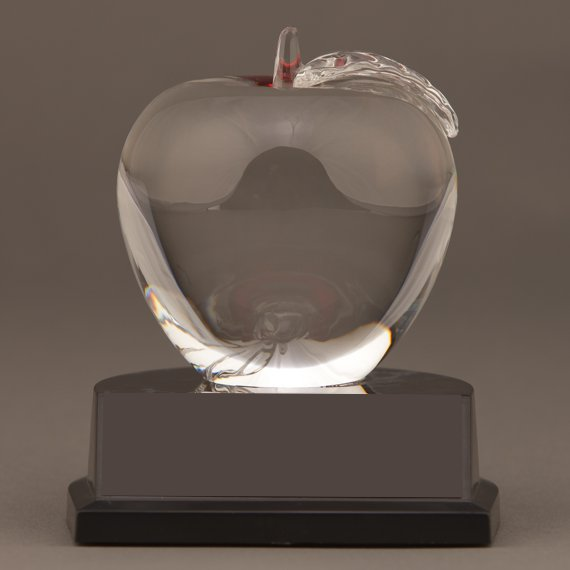 Crystal Apple Trophy for a Teacher Thank You Gift