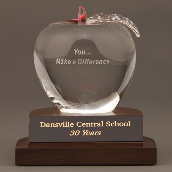 Teacher-Nursing Crystal Apple Award with You... Make a Difference Saying