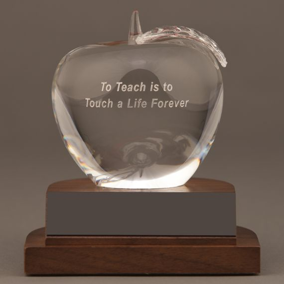 Teacher Crystal Apple Award with To Teach is to Touch a Life Forever Saying