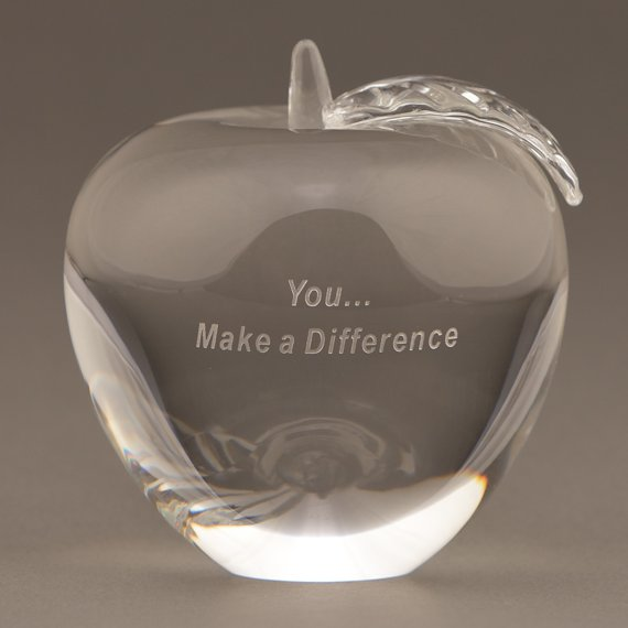 Engraved Glass Apple Paperweight with You... Make a Difference Saying for Thank You Gift Idea