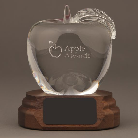 Etched Crystal Apple on a Walnut Base - Math Teacher Thank You Gift