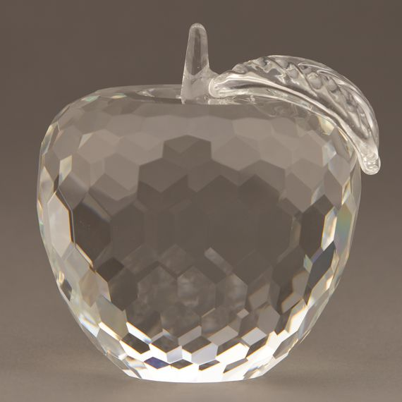 Diamond Cut Crystal Apple Paperweight for Healthcare Recognition