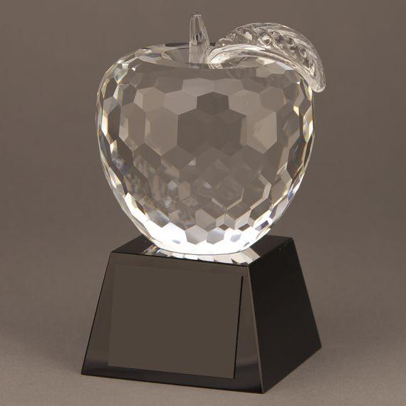 Diamond Cut Crystal Apple Teacher Black Trophy without Personalization