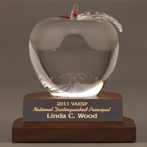 Elegant Crystal Apple Desk Award for Teachers