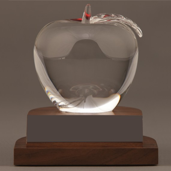 Elegant Crystal Apple Award for Teacher's Desk