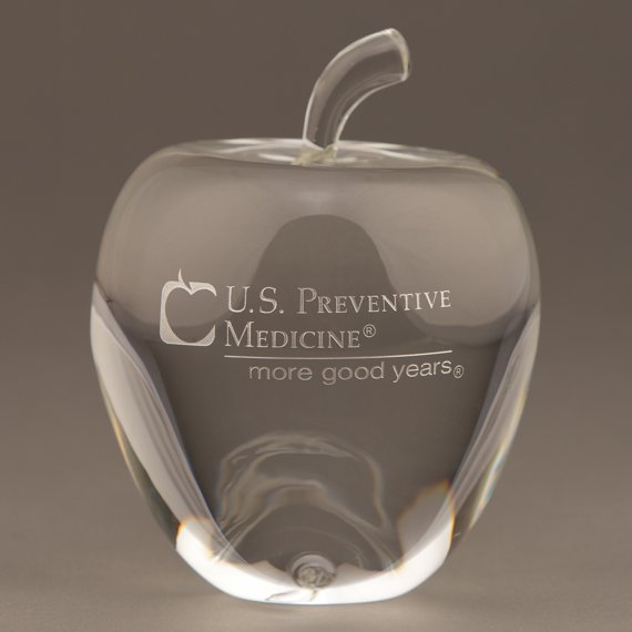 Etched Large Crystal Apple Paperweight