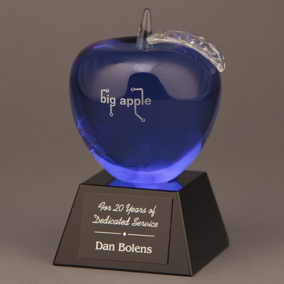 Etched Blue Crystal Apple on Black Base with Engraving as an Educator Appreciation Idea