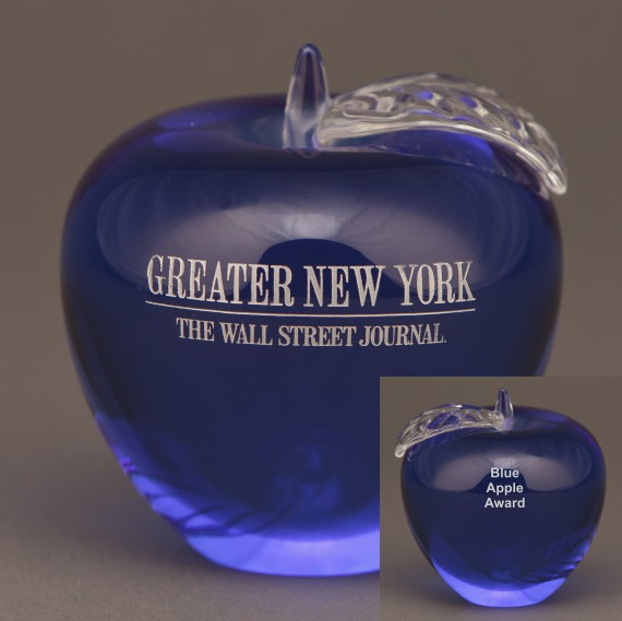 Blue Glass Apple Paperweight for Teacher Recognition Gift