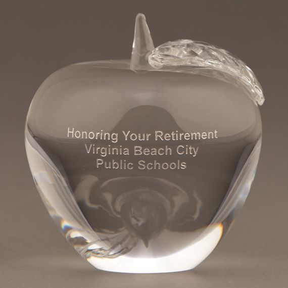 Engraved Glass Apple Paperweight for Teacher and Volunteer Recognition
