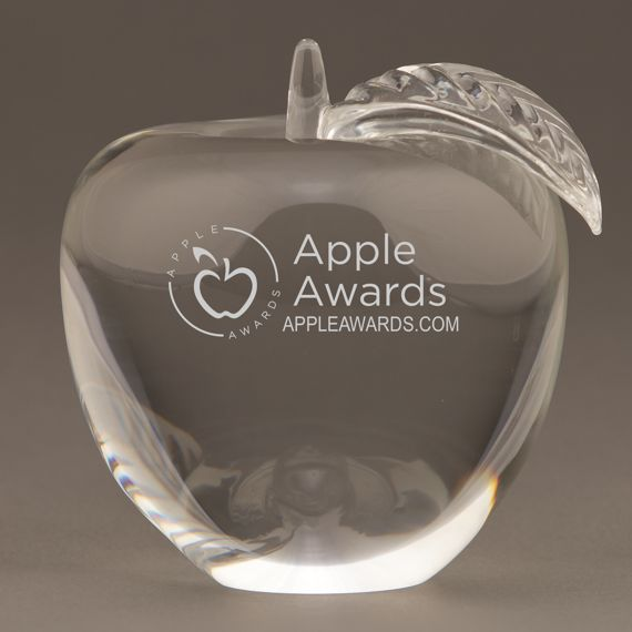 Custom Etched Large Crystal Apple Paperweight for Teachers