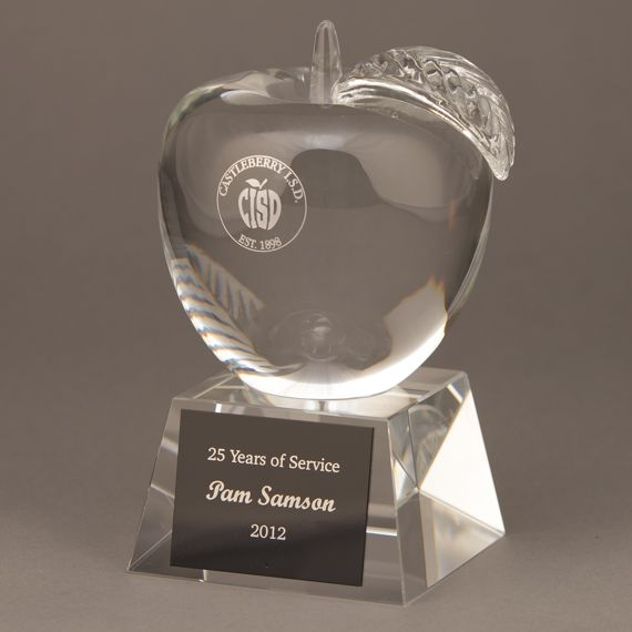 Personalized Crystal Apple Trophy for Teacher of the Month