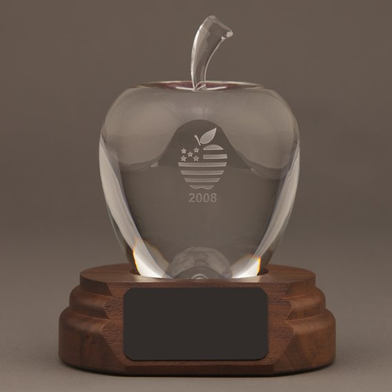 Etched Smooth Crystal Apple on Walnut Base