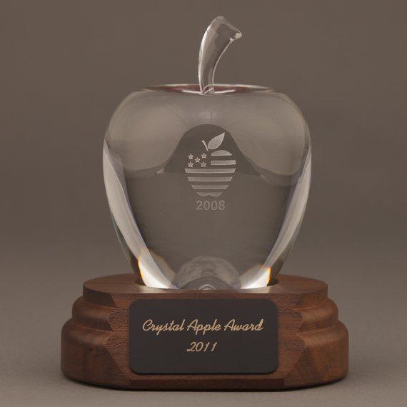 Etched Smooth Crystal Apple on Walnut Base Engraved
