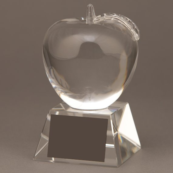 Crystal Apple Trophy for Teacher of the Year - No Engraving