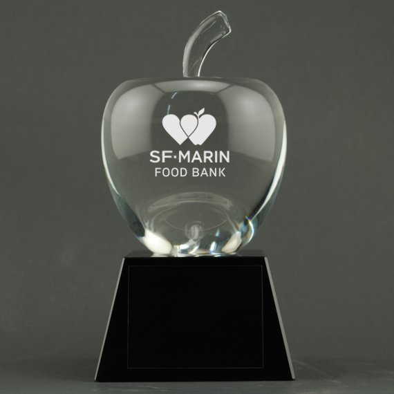 Custom Etched Crystal Apple on Black Crystal Base - Apple Personalization