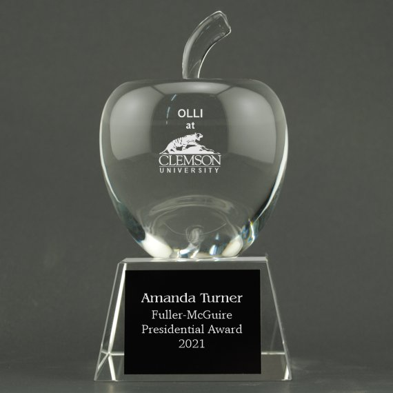 Custom Etched Crystal Apple on Crystal Base - Apple & Plate Personalization