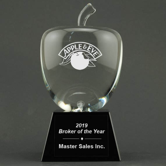 Large Custom Etched Crystal Apple on Black Crystal Base - Personalization Included