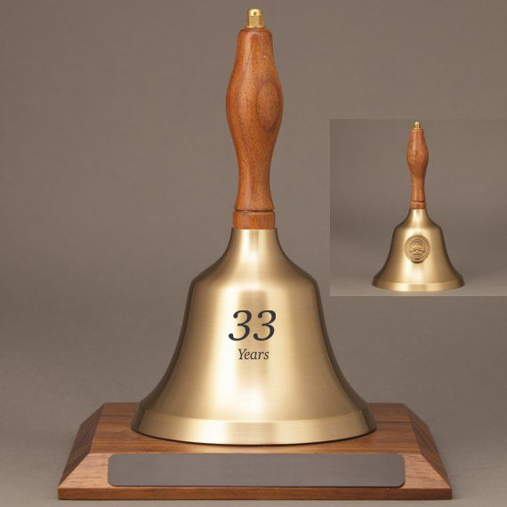 Teacher Recognition Hand Bell with Walnut Handle, Base & Medallion - Bell Personalization