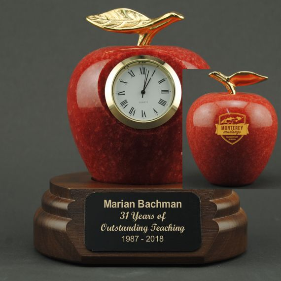 custom-etched-polished-red-marble-apple-w-clock-personalized
