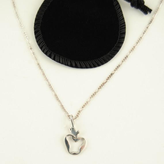 Sterling Silver Apple Pendant - Chain For Teacher Appreciation Gift