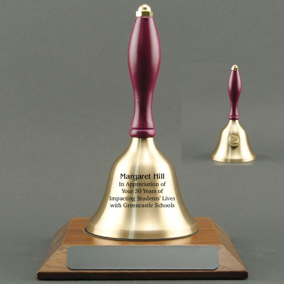 Teacher Recognition Hand Bell with Purple Handle, Base & Medallion - Bell Personalization