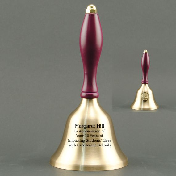 Teacher Recognition Hand Bell with Purple Handle & Medallion - Bell Personalization