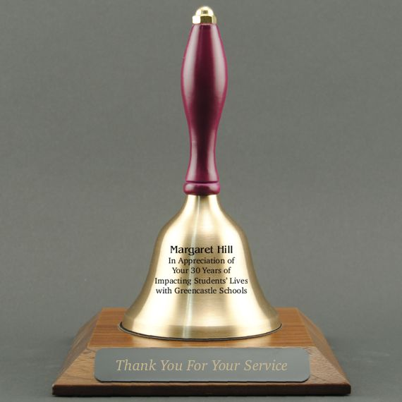 Teacher Appreciation Hand Bell with Purple Handle and Base - All Engraving Included