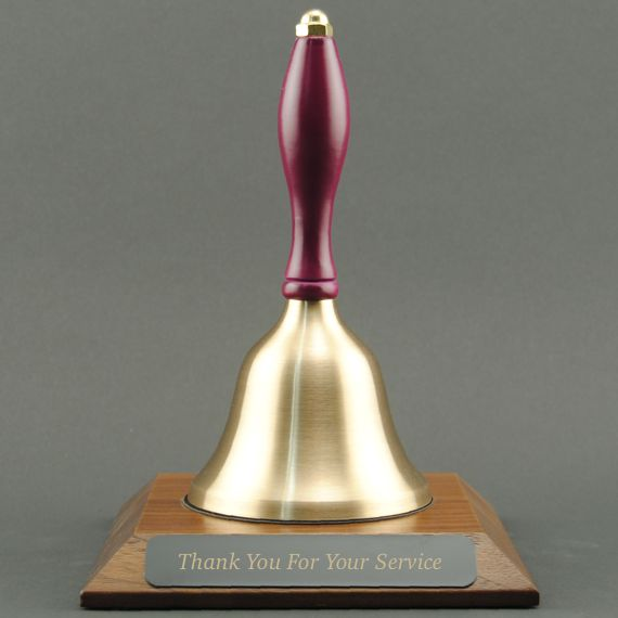 Teacher Appreciation Hand Bell with Purple Handle and Base - Engraved Plate