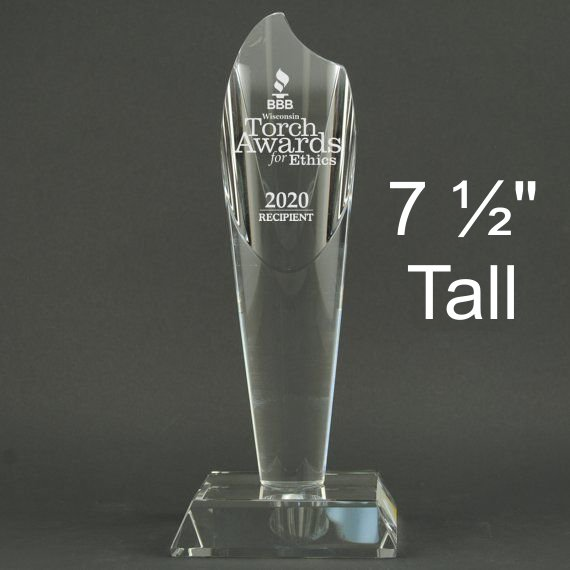 Small Crystal Torch Award Trophy - Personalization Included