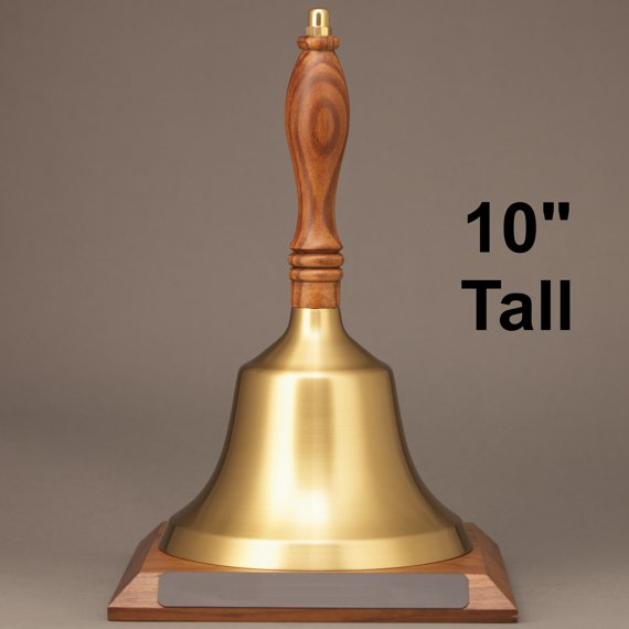 Golden Teacher Appreciation Day Hand Bell with Walnut Handle and Base - Non-Engraved