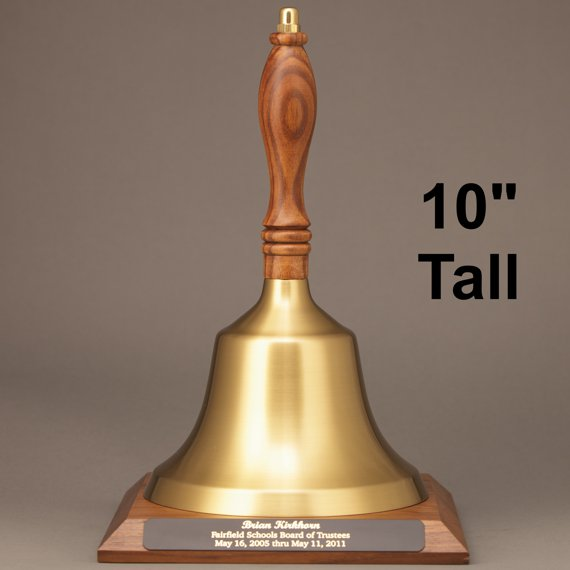 Golden Teacher Recognition Hand Bell with Walnut Handle and Base - Engraved Plate