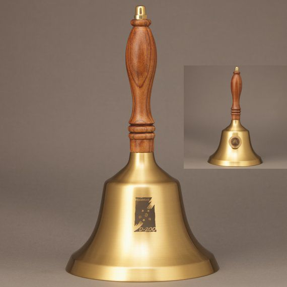 Teacher Recognition Hand Bell with Walnut Handle & Medallion - Bell Personalization