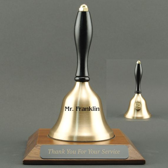 Teacher Recognition Hand Bell with Black Handle, Base & Medallion - Bell & Plate Personalization