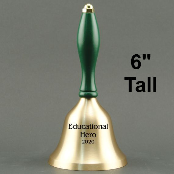 Teacher Recognition Hand Bell with Green Handle - Personalization