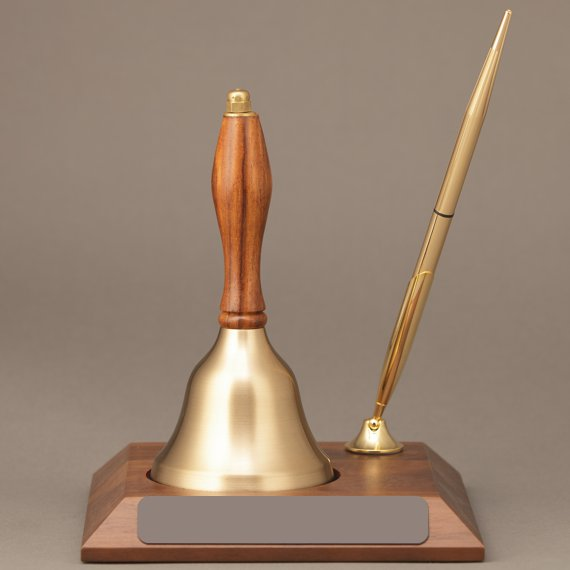 Teacher Appreciation Week Handbell Desk Award Non-Engraved with Pen