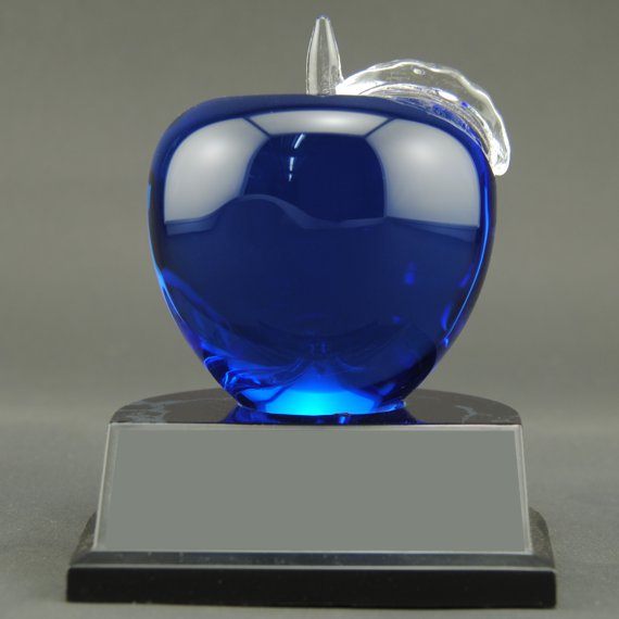 Non-Engraved Red Crystal Apple Trophy on Black Alamar Base for Teacher Recognition