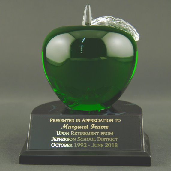 Engraved Green Crystal Apple Trophy on Black Alamar Base for Teacher Recognition