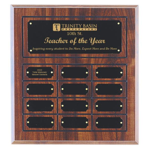 Teacher of the Year Perpetual Plaque Laser Engraved - 12 Plate