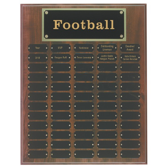 Coach of the Year Perpetual Plaque Laser Engraved - 60 Plate