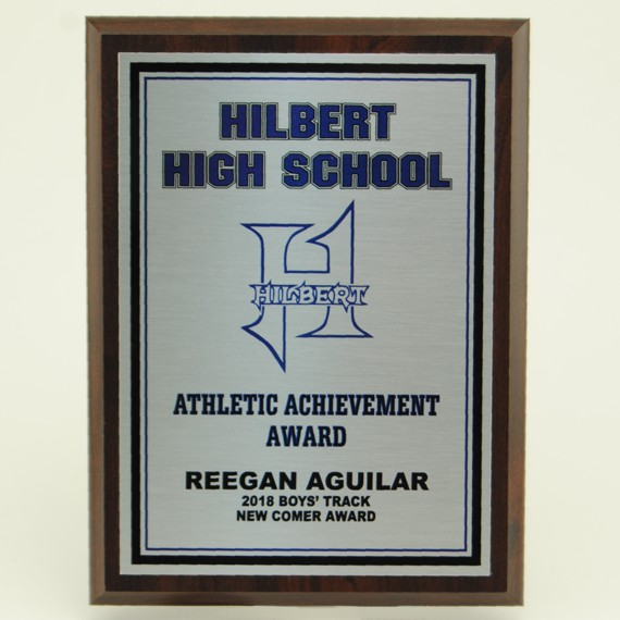 Athletic Achievement Plaque - 6x8 Cherry Finish with Personalized Plate