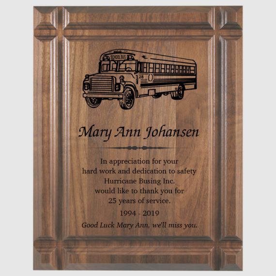 7 x 9 Grooved Walnut Plaque For Business and Teacher Recognition